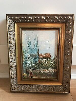Charming Signed Oil Painting On Board Of Paris In Ornate Gold Frame