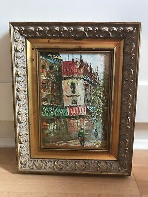 Charming Oil Painting On Board Of Paris Street Scene In Ornate Gold Frame