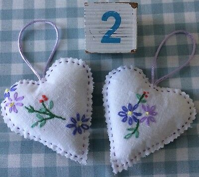 Vintage hand embroidered fabric heart shaped lavender bags pack of 2 lot 2