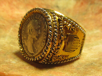 Authentic Ancient Roman Silver Denarius of Emperor Trajan Mens Ring! Size 13
