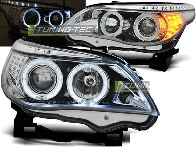 Coppia Fari Anteriori BMW Serie 5 E60 E61 Angel Eyes Cromati Coppia Frecce a LED