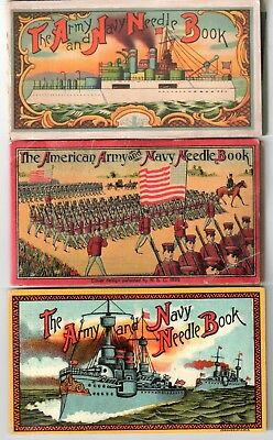 Lot: 3 Vintage Army & Navy Needle Books Original Silver Steel Needles Ships