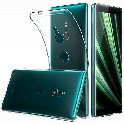 New Thin Clear Transparent Gel Case Cover & Glass Protector For Sony Xperia XZ3