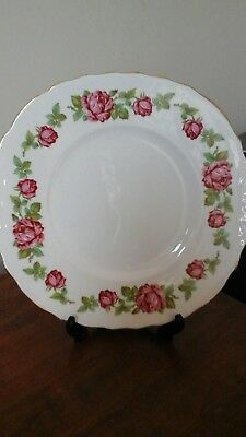 ROYAL VALE CHINA CAKE PLATE with Pink Rose Border Vintage