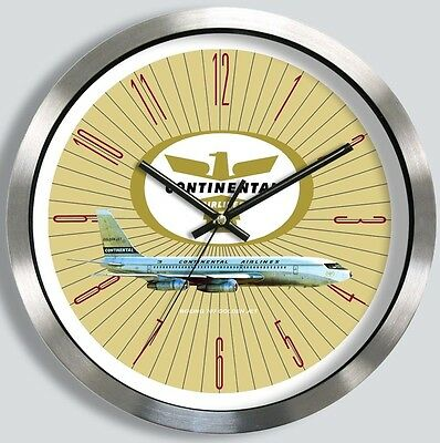 CONTINENTAL AIRLINES BOEING 707 WALL CLOCK METAL 1960's