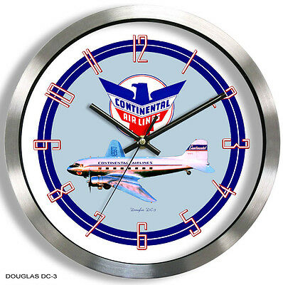 CONTINENTAL AIRLINES DOUGLAS DC-3 WALL CLOCK METAL 1950's