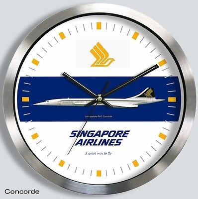 SINGAPORE AIRLINES CONCORDE WALL CLOCK METAL 1970s 1980s