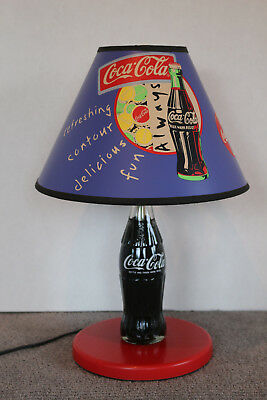 """1998 Coca~Cola Coke Bottle Shaped Table Lamp w Rare Always Shade 15"""" Works Great"""