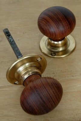 Pair Antique Door Knobs Hard Wood Brass Vintage Reclaimed & Restored