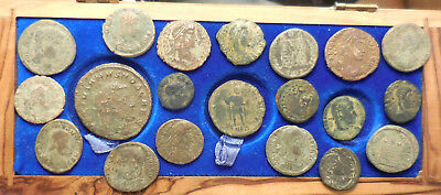 Lot of 20 F to VF Ancient Roman Coins! Largest 28 mm. Early Empire Quadrans etc