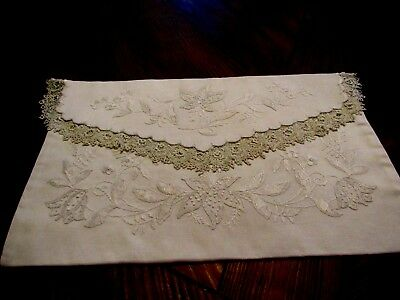 Antique Mountmellick Embroidered Boudoir/Nightdress Case with Irish Crochet Lace