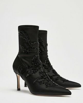 7842418319c ZARA EMBROIDERED SATIN High Heel Ankle Boots 35-42 Ref. 6065 201 ...