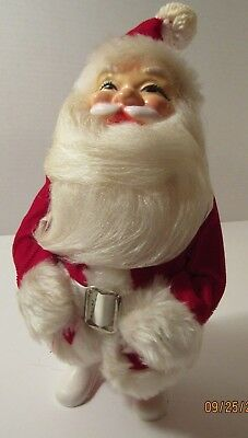 "Vintage Standing Santa Claus Doll Red Velvet Suit 1950's or 1960's 10"" Tall"