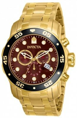 Invicta Men's Pro Diver Scuba Swiss Chronograph 18k Gold Plated Watch 80065