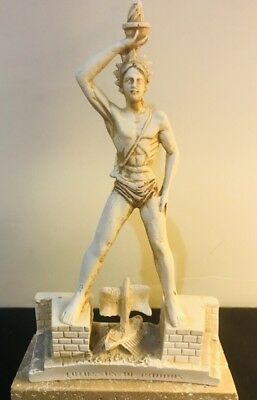 """Colossus of Rhodes """"Hermes"""" Lighthouse 8in Statue Sculpture Figurine Marble Base"""
