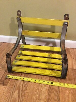 Old Vtg Steel Wood Outdoor Playground Childrens Tree Chain Swing Seat