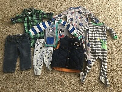 Baby Boy Clothes Lot 12 Months Carters Disney Lucky Brand Fall Winter. 7 Items
