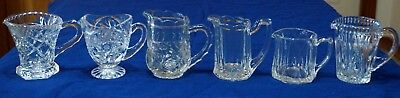 6 Jugs Creamers Crystal/Glass Assorted