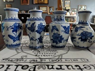 Lot Of 4 Small Chinese Ceramic Vases Blue And White Butterflies Made In China