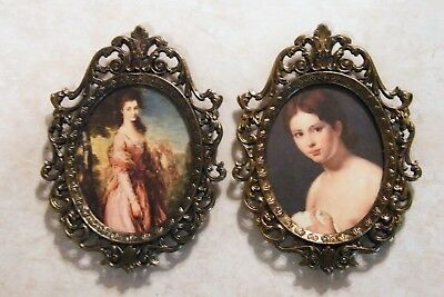 """2 VINTAGE Ornate Brass Metal Wall Frames MADE IN ITALY Victorian Lady 5-1/2""""Tall"""