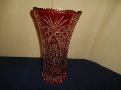 """Vintage LARGE 11"""" Crystal Ruby Vase Cut To Clear Czech Bohemian Style Vase"""