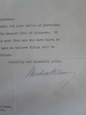 1912 Woodrow Wilson Signed Thank You His Stationary From Scrapbook