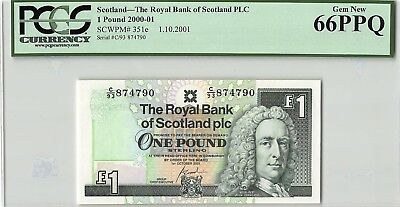 Scotland, Royal Bank 2001 P-351e PCGS Gem New 66 PPQ 1 Pound