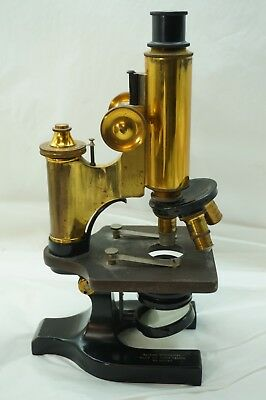 ANTIQUE BRASS MICROSCOPE SPENCER 3 OBJECTIVES 10X 44X 95X 4MM 16MM APOTHECARY d