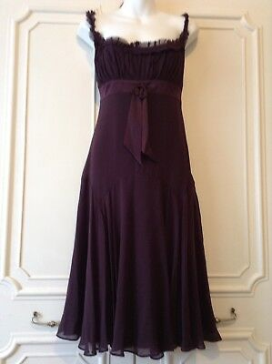 Ted Baker Dress - Empire Line 100% Purple Silk Grecian Style - Size 3 🌸🌸