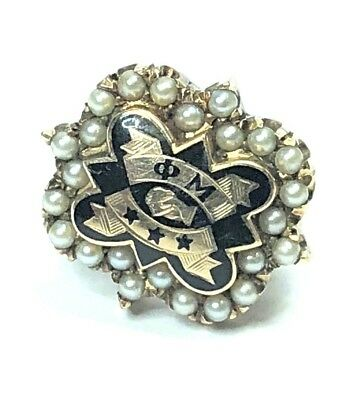 10k Gold PHI MU Badge Pin with Seed Pearls