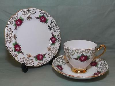 Vintage Roslyn Bone China Trio Tea Cup Saucer & Side Plate R566 Red Gala Roses