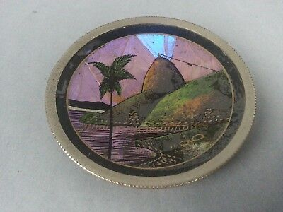 Vintage Santos Rio Brazil Butterfly Wing Art Wall Hanging Aluminum