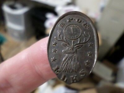 1919 Antique Elks BPOE Token Medal Coin on Elongated Wheat Cent Rare