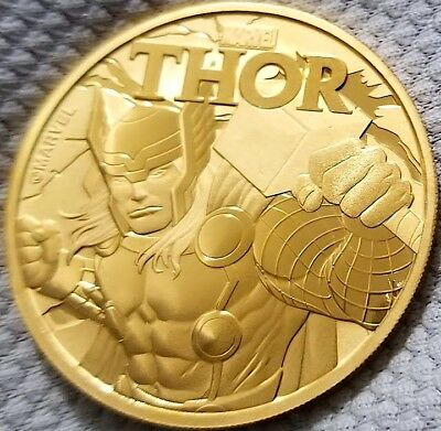 2018 1 oz Tuvalu Thor Marvel Series .9999 Pure Silver Coin 24k Gold Gilded F