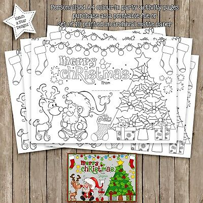 Merry Christmas Gift Tree Santa Rudolph Party Activity A4 Colour In Pages