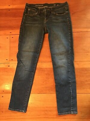 J CREW Ladies Womens Toothpick Medium Wash Skinny Blue Jeans Size 27 Ankle VGUC
