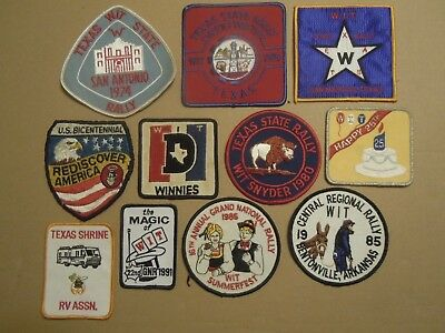 Lot Of 11 Vintage Winnebago Wit Rv Patches    Texas