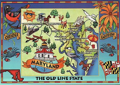 Maryland, The Old Line State, Annapolis, Baltimore, Ocean City --- Map Postcard