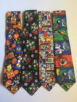 Looney Tunes Tie Lot Halloween Christmas Comic Strip And Stamps