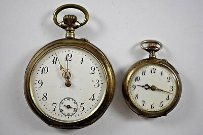 Vintage Pair of Pocket Watches 0.800 Silver Cases His & Hers lot.h
