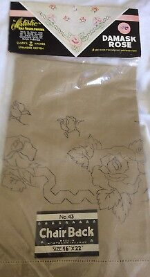Vintage Chair Back Transfer Printed Roses to Embroider Unopened