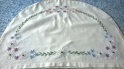 Vintage Hand Embroidered Cream Linen Tea Cosy Cover Floral