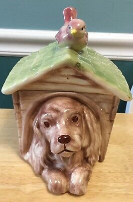 Vintage Dog House Cocker Spaniel Cookie Jar w/ Bird on Top, Adorable