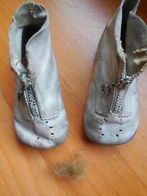 Antique Vintage Old Baby Booties with Lock of Hair, Remembrance of Baby, Estate