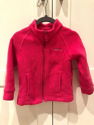 Columbia Girl's 2T Fleece Bright Pink Zip Up Jacket