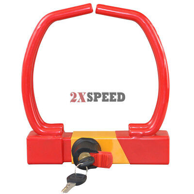 Compact Car Wheel Clamp lock safety device universal  - Yellow/Red 2 Keys