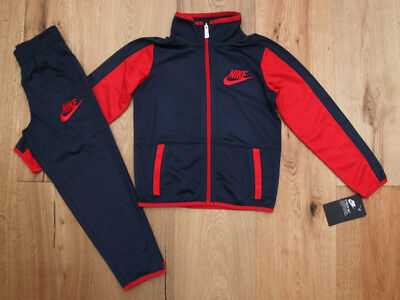 781308116 NIKE BOY 2 Piece Jogging Set ~ Tracksuit ~ Navy Blue & Red ...