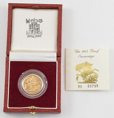 1985 United Kingdom Gold Proof Sovereign - With Box & Paper - OGP *7445