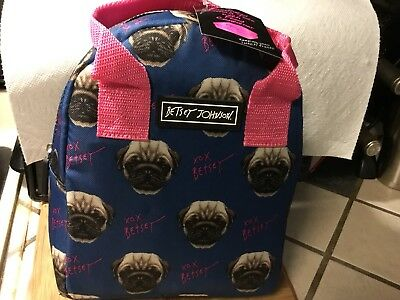 Betsey Johnson Navy Pink Pug  Insulated Lunch Tote