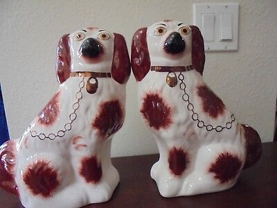 """Vintage Staffordshire Knot Marked Russet and White pair of 9"""" Spaniels"""